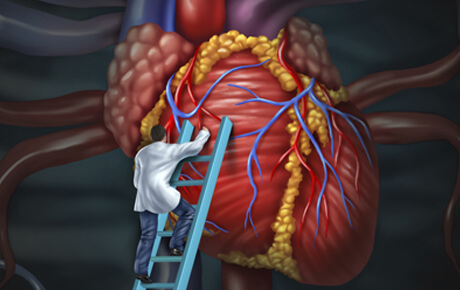 fictional picture of man climbing stairs on a heart